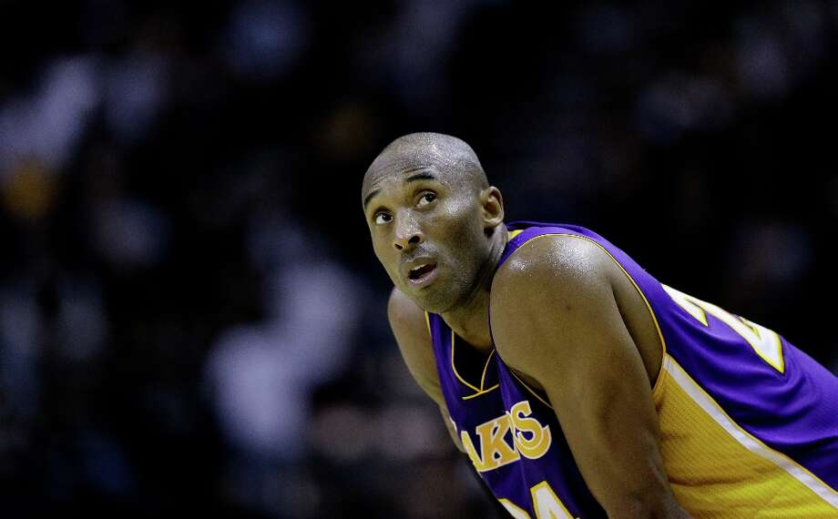 Los Angeles Lakers\' Kobe Bryant carches his breath during the fourth quarter of an NBA basketball game against the San Antonio Spurs, Wednesday, Jan. 9, 2013, in San Antonio. San Antonio won 108-105. Photo: Eric Gay, Associated Press / AP