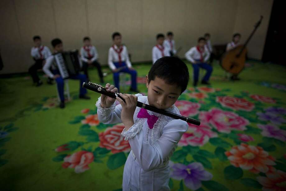 North Korean children practice a musical performance at Mangyongdae Children's Palace in Pyongyang Thursday, April 18, 2013. (AP Photo/David Guttenfelder) Photo: David Guttenfelder, Associated Press