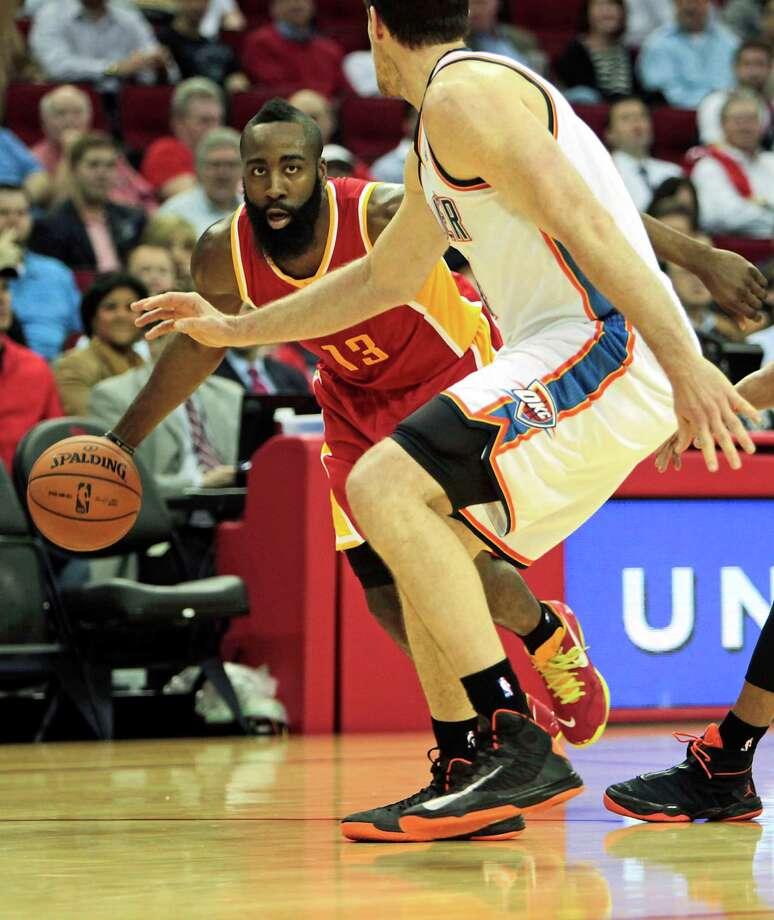 James Harden had two bad games and one good game against the Thunder this season, with the outcomes naturally lining up with his performances. Photo: James Nielsen, Staff / © 2013  Houston Chronicle