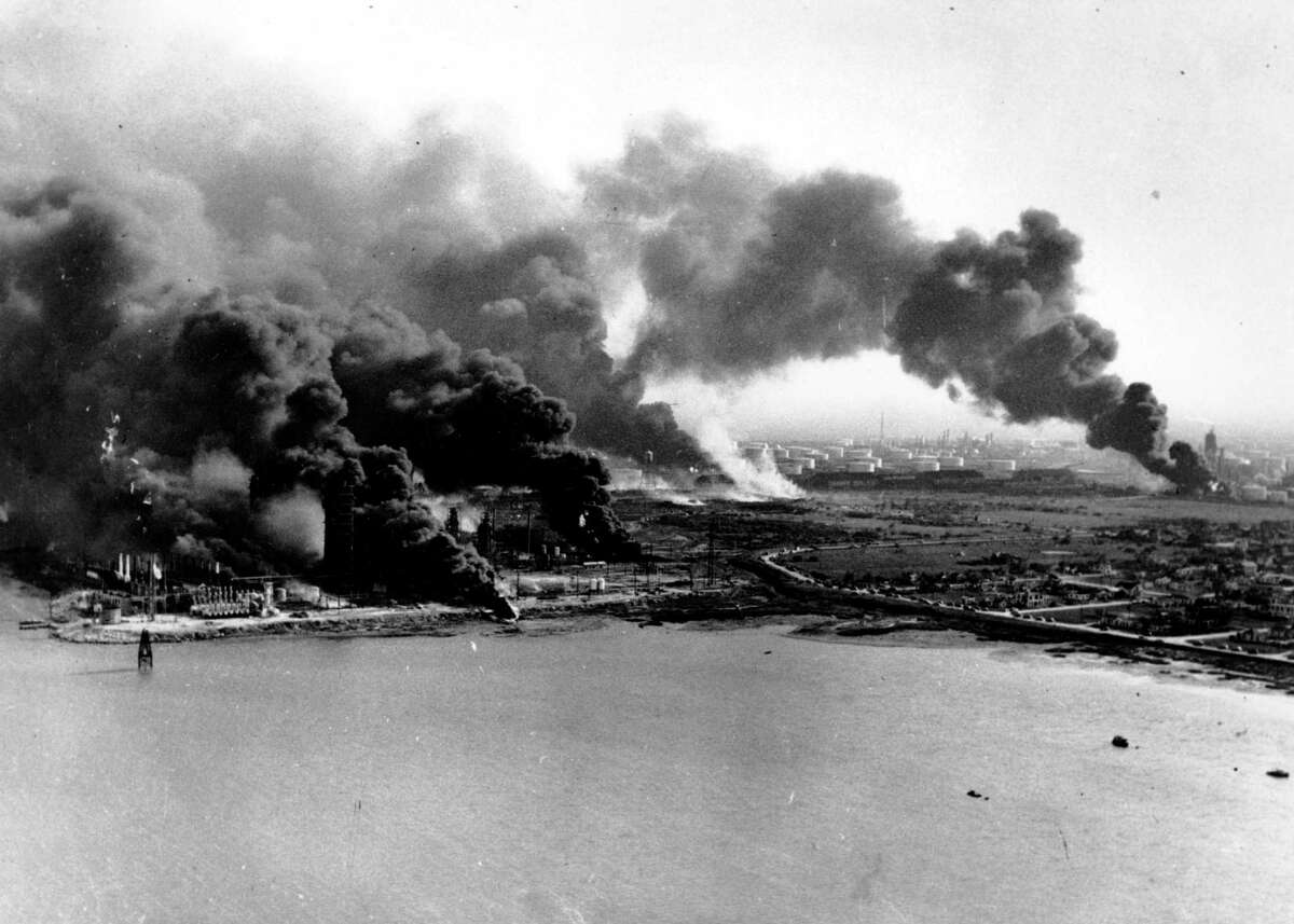 In April 1947, refineries and oil storage tanks at the Monsanto Chemical Company burn on the Texas City waterfront after two French ships carrying fertilizer exploded in the harbor, causing America's worst industrial disaster. At least 576 people were killed and 5,000 injured.