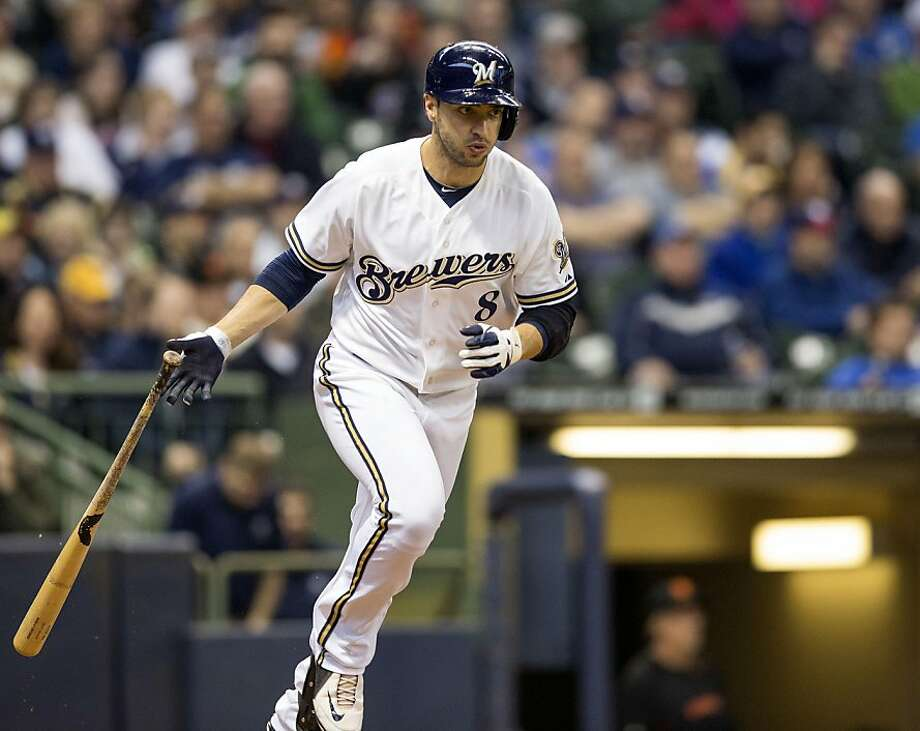 MILWAUKEE, WI - APRIL 18: Ryan Braun #8 of the Milwaukee Brewers grounds out to Javier Lopez #49 of the San Francisco Giants in the seventh inning at Miller Park on April 18, 2013 in Milwaukee, Wisconsin.  (Photo by Tom Lynn/Getty Images) Photo: Tom Lynn, Getty Images