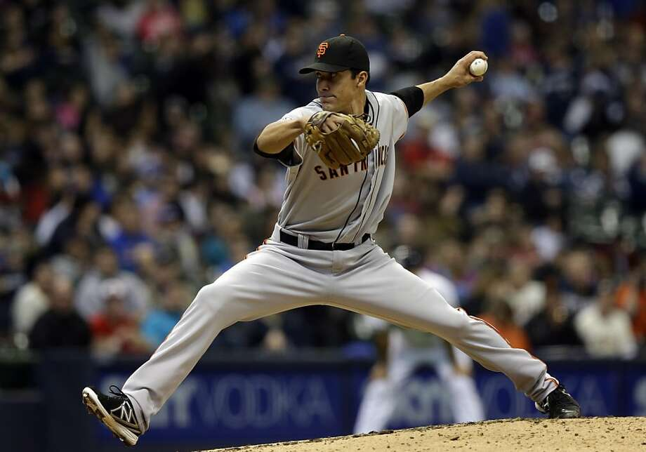 San Francisco Giants' Javier Lopez throws during the seventh inning of a baseball game against the Milwaukee Brewers Thursday, April 18, 2013, in Milwaukee. (AP Photo/Morry Gash) Photo: Morry Gash, Associated Press