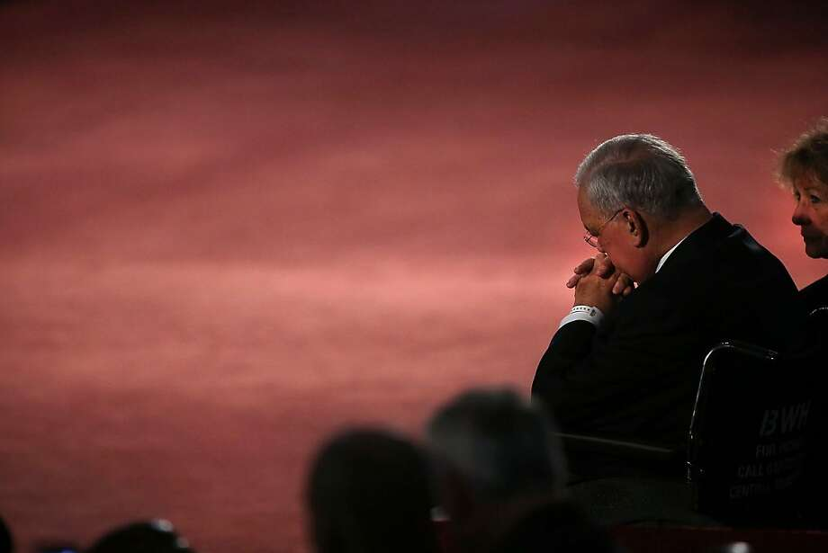 "Boston Mayor Thomas Menino pauses after speaking at an interfaith prayer service for victims of the Boston Marathon attack titled ""Healing Our City,"" at the Cathedral of the Holy Cross, Thursday, April 18, 2013 in Boston, Massachusetts. (Pool photo by Spencer Platt/Getty Images/MCT) Photo: Spencer Platt, McClatchy-Tribune News Service"