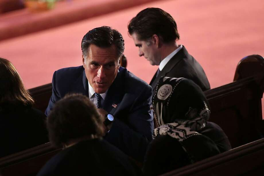 "BOSTON, MA - APRIL 18:  Former Massachusetts Governor and 2012 Republican presidential nominee Mitt Romney attends an interfaith prayer service for victims of the Boston Marathon attack titled ""Healing Our City,"" where President Barack Obama spoke at the Cathedral of the Holy Cross on April 18, 2013 in Boston, Massachusetts. Authorities investigating the attack on the Boston Marathon have shifted their focus to locating the person who placed a black bag down and walked away just before the bombs went off. The twin bombings at the 116-year-old Boston race, which occurred near the marathon finish line, resulted in the deaths of three people and more than 170 others injured.  (Photo by Spencer Platt/Getty Images) Photo: Spencer Platt, Getty Images"