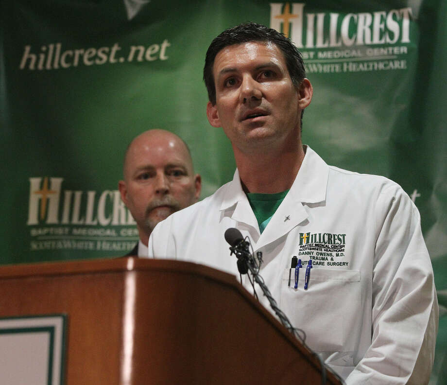 Dr. Danny Owens, a surgeon at Hillcrest Baptist Medical Center in Waco, said Thursday that many of the victims of the West fertilizer plant explosion, displayed soft tissue and skin injuries. To the left of Owens is Dr. Jim Morrison, the hospital's Chief Medical Officer.