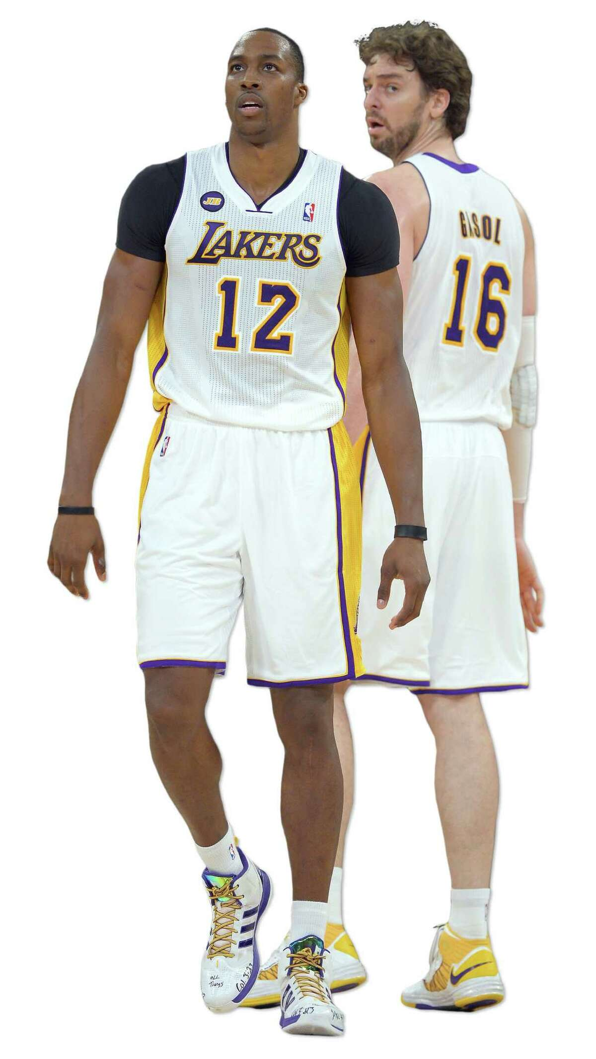 Dwight Howard (left) and Pau Gasol have performed well with Kobe Bryant absent.