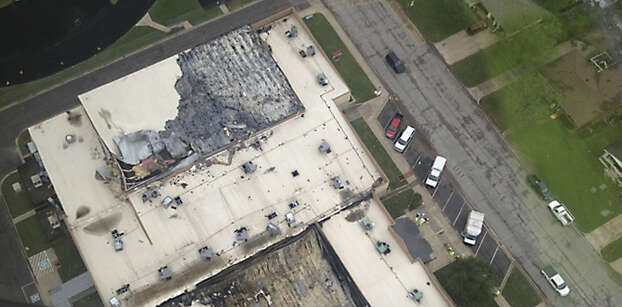 A view from the air of the damage to West Middle School. Photo: Courtesy Of Charles Hood