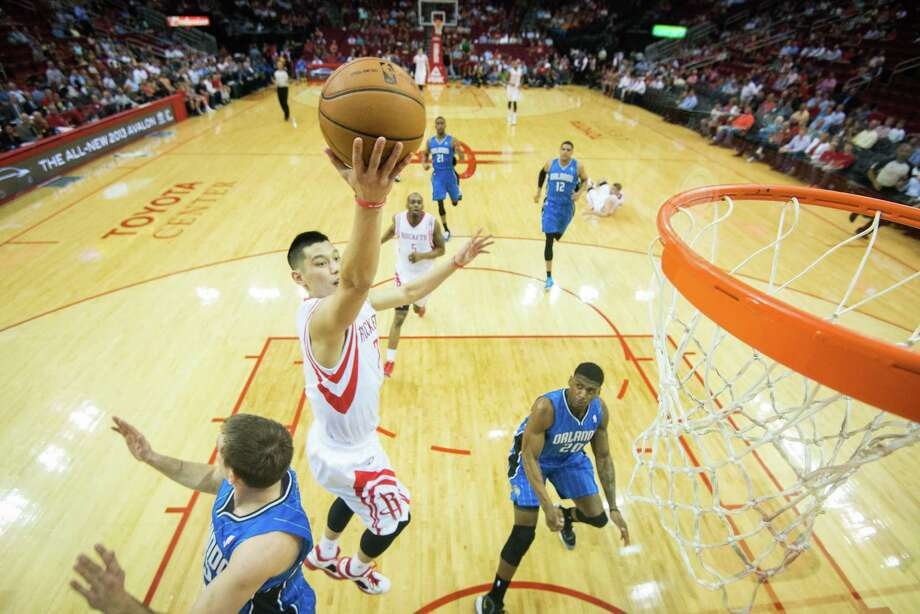 The Rockets encourage their guards, like Jeremy Lin, to attack the rim, but that can be risky against a good shot-blocking team such as the Thunder. Photo: Smiley N. Pool, Staff / © 2013  Houston Chronicle