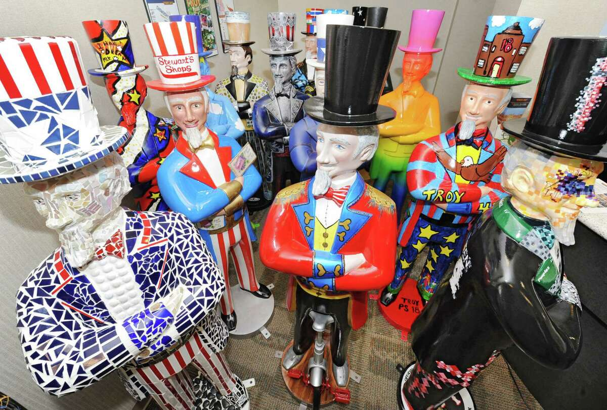 Decorated Uncle Sams wait to be placed around the city of Troy at the BID office Thursday, April 18, 2013 in Troy, N.Y. During Troy Night Out on Friday, April 26th, between 5pm and 9pm, the Uncle Sam Project will be unveiled. (Lori Van Buren / Times Union)