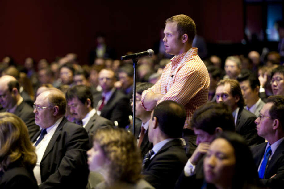 George O'Leary, of Tudor Pickering, asks a question during a panel discussion on globalization of LNG during the 17th International Conference & Exhibition on Liquefied Natural Gas at the George R. Brown Convention Center Thursday, April 18, 2013, in Houston.