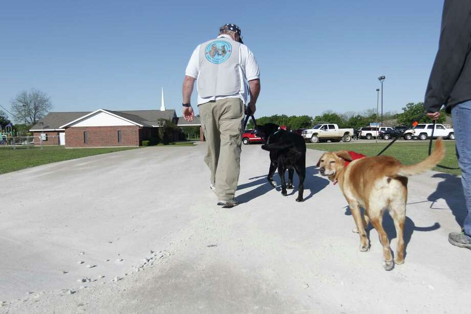Therapy dogs are brought in for those seeking grief counseling at a local church in West. Photo: Johnny Hanson