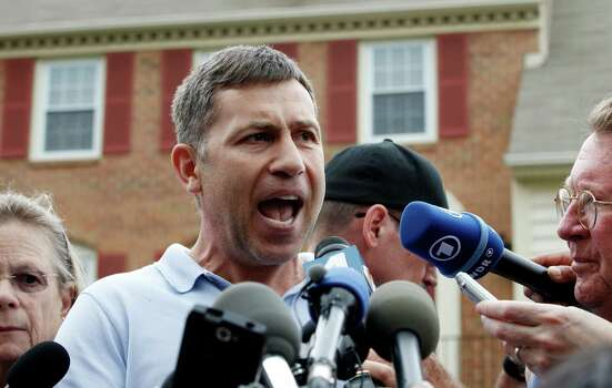 Ruslan Tsarni, the uncle of the Boston Marathon bombing suspect, speaks with the media outside his home in Montgomery Village in Md. Friday, April, 19, 2013. Tsarni urged his nephew to turn himself in. Photo: Associated Press