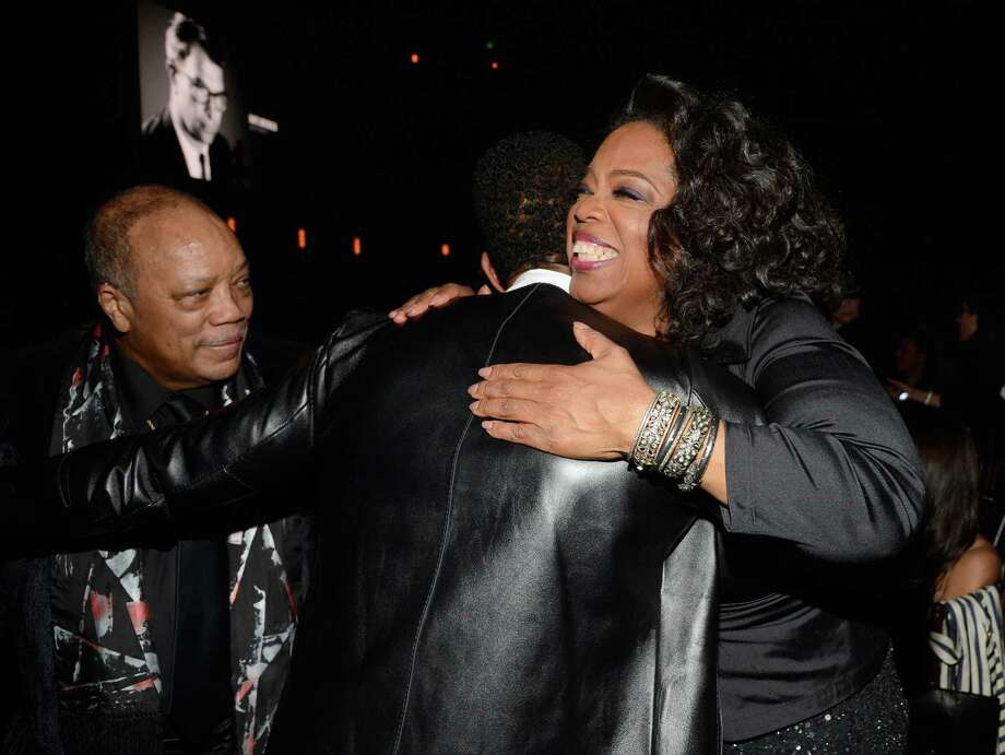 Quincy Jones, singer Usher and Oprah Winfrey attend the 28th Annual Rock and Roll Hall of Fame Induction Ceremony at Nokia Theatre L.A. Live on April 18, 2013 in Los Angeles.  (Photo by Kevin Mazur/WireImage) Photo: Kevin Mazur, Getty Images / 2013 Kevin Mazur