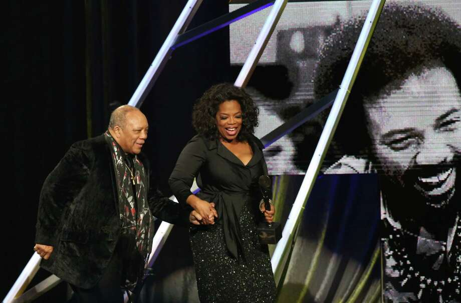 Quincy Jones (L) and Oprah Winfrey onstage during the 28th Annual Rock and Roll Hall of Fame Induction Ceremony at Nokia Theatre L.A. Live on April 18, 2013 in Los Angeles.  (Photo by Kevin Kane/WireImage) Photo: Kevin Kane, Getty Images / 2013 Kevin Kane