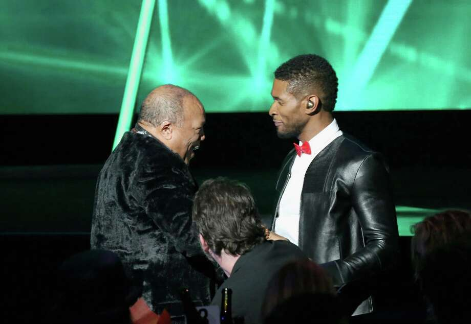 Quincy Jones (L) and singer Usher onstage during the 28th Annual Rock and Roll Hall of Fame Induction Ceremony at Nokia Theatre L.A. Live on April 18, 2013 in Los Angeles. (Photo by Kevin Kane/WireImage) Photo: Kevin Kane, Getty Images / 2013 Kevin Kane