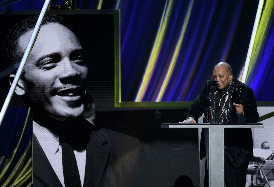 Quincy Jones accepts the Ahmet Ertegun Award onstage at the 28th Annual Rock and Roll Hall of Fame Induction Ceremony at Nokia Theatre L.A. Live on April 18, 2013 in Los Angeles. Photo: Kevin Winter, Getty Images / 2013 Getty Images