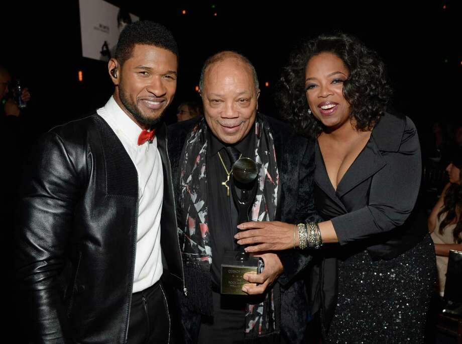 Usher, inductee Quincy Jones and Oprah Winfrey attend the 28th Annual Rock and Roll Hall of Fame Induction Ceremony at Nokia Theatre L.A. Live on April 18, 2013 in Los Angeles.  (Photo by Kevin Mazur/WireImage) Photo: Kevin Mazur, Getty Images / 2013 Kevin Mazur
