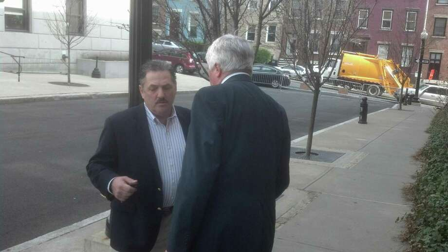 David Mazzeo, left, with his attorney Paul Dwyer outside the Albany County Courthouse on Friday, April 19, 2013. (Robert Gavin/Times Union)