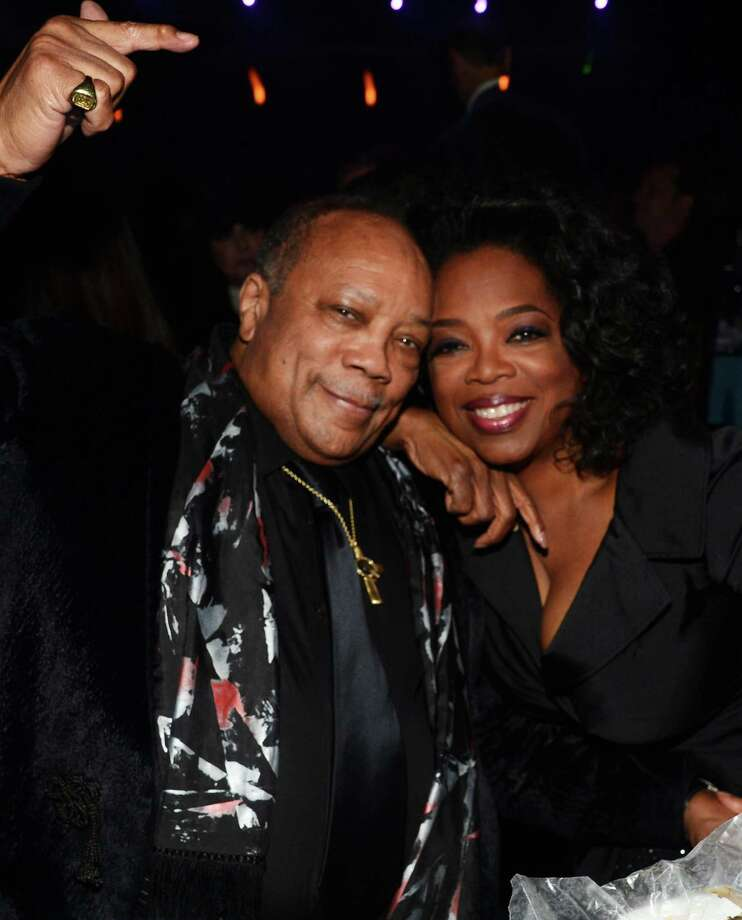 Quincy Jones and Oprah Winfrey attend the 28th Annual Rock and Roll Hall of Fame Induction Ceremony at Nokia Theatre L.A. Live on April 18, 2013 in Los Angeles.  (Photo by Kevin Mazur/WireImage) Photo: Kevin Mazur, Getty Images / 2013 Kevin Mazur