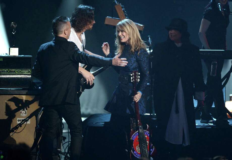 Mike McCready of Pearl Jam and Chris Cornell and inductees Nancy Wilson and Ann Wilson of Heart perform on stage at the 28th Annual Rock and Roll Hall of Fame Induction Ceremony at Nokia Theatre L.A. Live on April 18, 2013 in Los Angeles. Photo: Kevin Winter, Getty Images / 2013 Getty Images