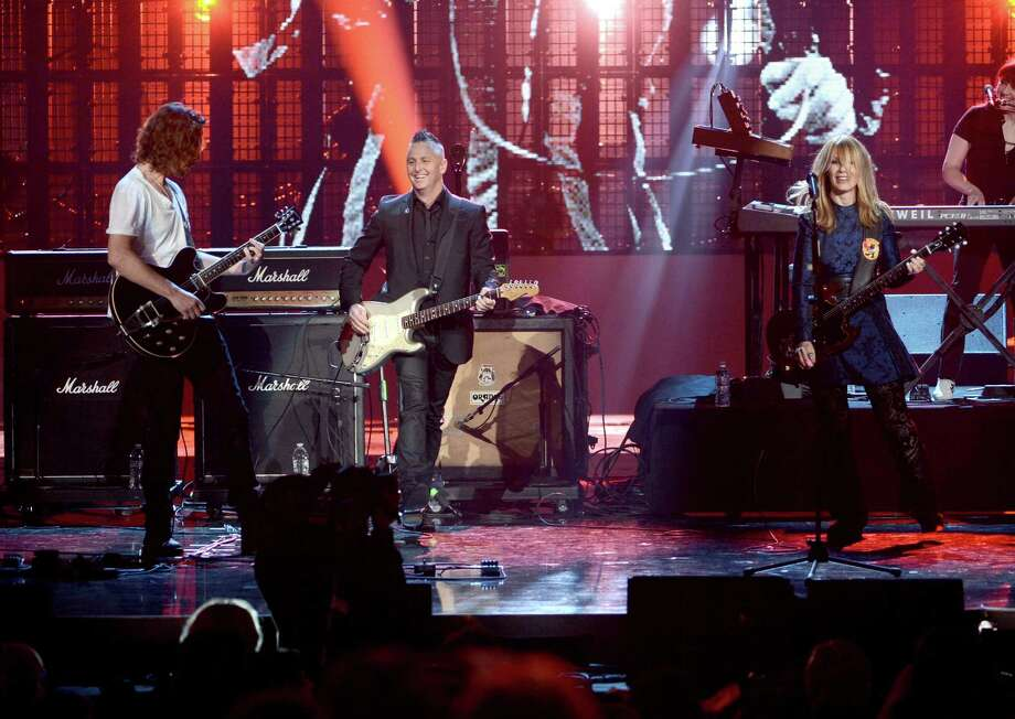 Chris Cornell and Mike McCready and inductee Nancy Wilson of Heart perform onstage at the 28th Annual Rock and Roll Hall of Fame Induction Ceremony at Nokia Theatre L.A. Live on April 18, 2013 in Los Angeles. Photo: Kevin Winter, Getty Images / 2013 Getty Images