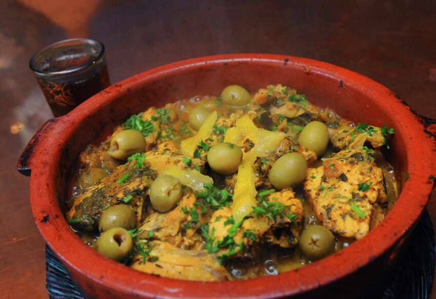 Chicken with preserved lemons and green olives at Tara Kitchen on Friday April 12, 2013 in Schenectady N.Y. (Michael P. Farrell/Times Union)