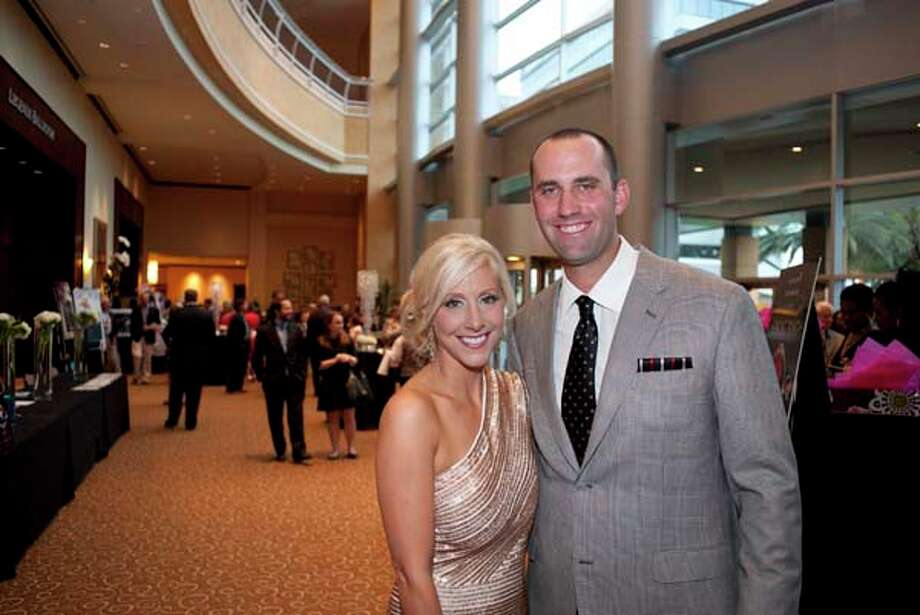 Matt Schaub, Texans Quarterback, and GR8 Chariman with his wife Laurie at the GR8 event, at the Royal Sonesta Hotel, Houston, Texas on the 18th April 2013. Photo: Spike Johnson, For The Chronicle / Houston Chronicle