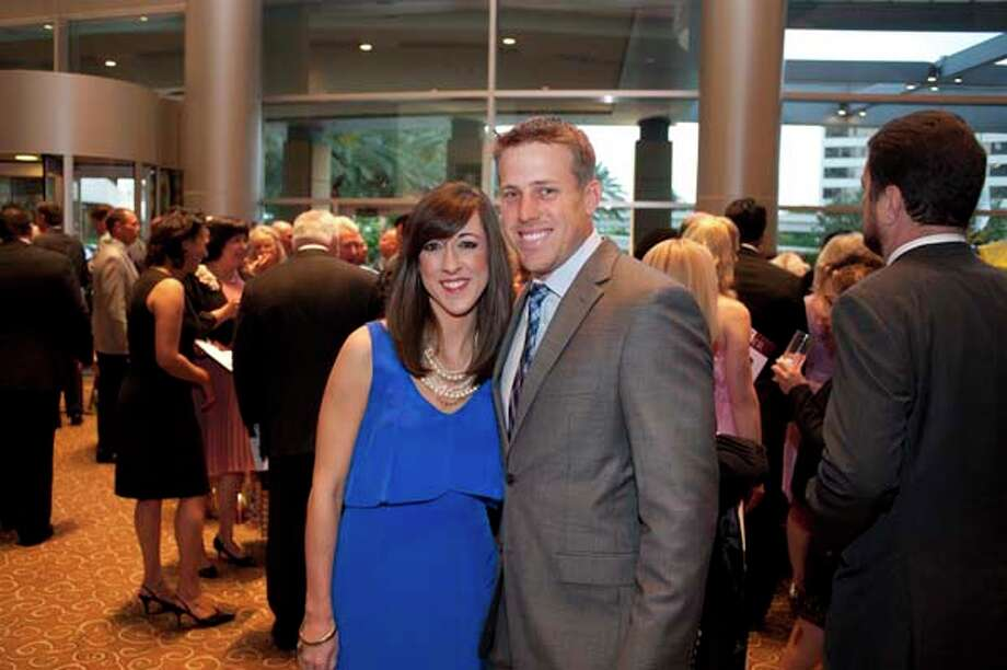 Case Keenum, Texans Quarterback with his wife Kimberley at the GR8 event, at the Royal Sonesta Hotel, Houston, Texas on the 18th April 2013. Photo: Spike Johnson, For The Chronicle / Houston Chronicle