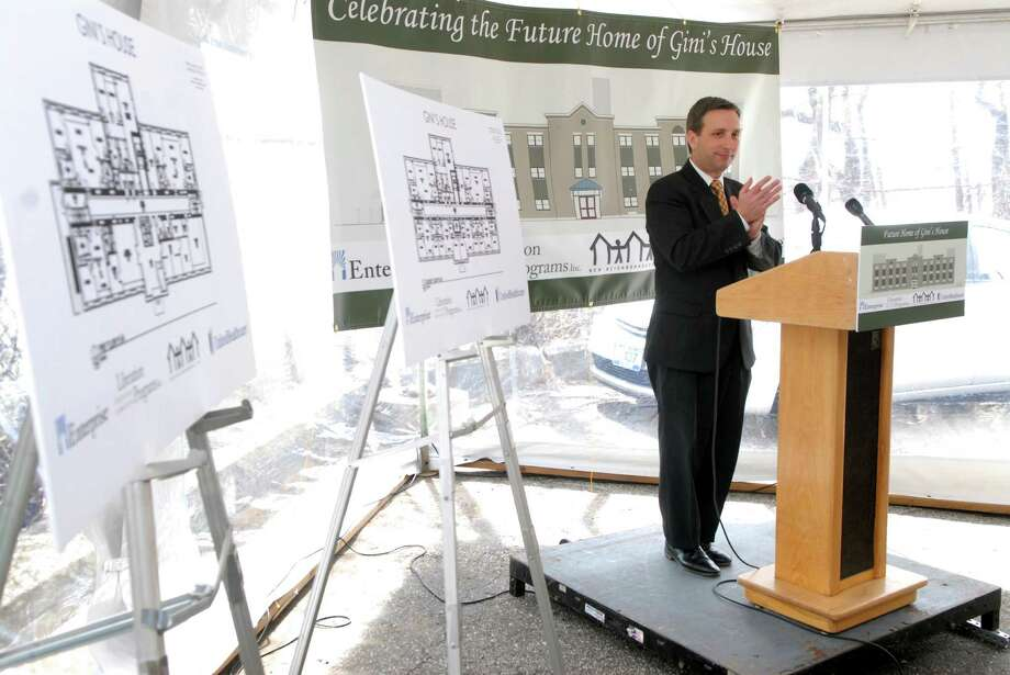 State Senator Bob Duff speaks at event to celebrate the start of construction on Gini's House, an affordable housing development that will bring 18 quality one-and two-bedroom apartments to Norwalk, Conn. on Friday April 19, 2013. Photo: Dru Nadler / Stamford Advocate Freelance