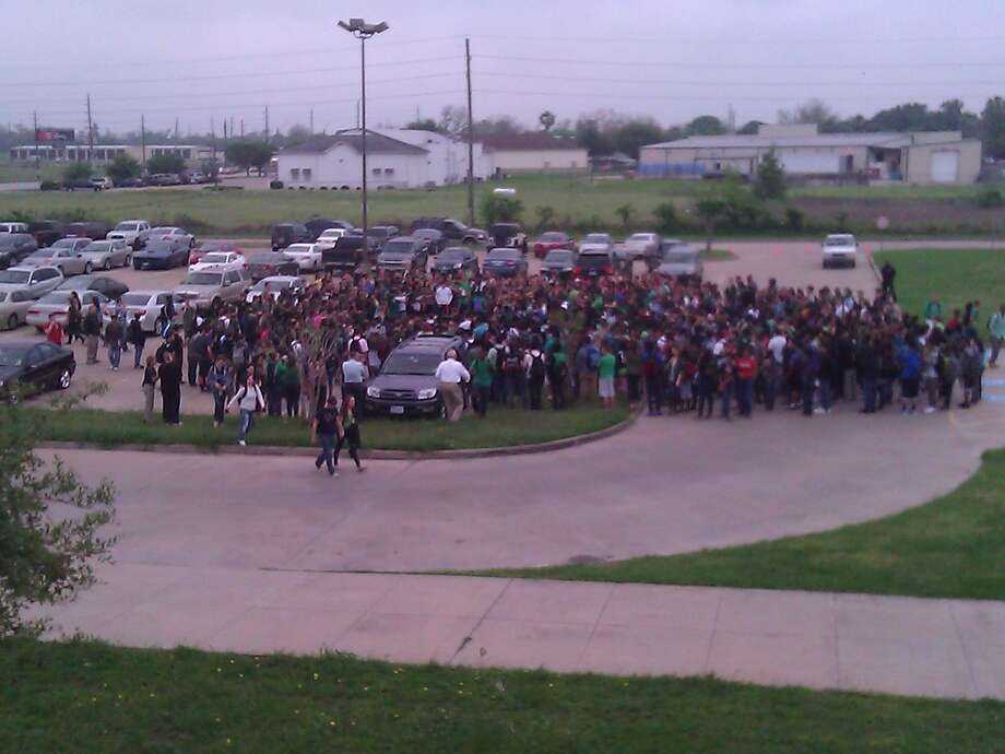 Students at Foster High School in Richmond gathered for a morning prayer service April 18 in memory of senior Bailey Cooper, who died in a car accident the day before. Photo: Courtesy Photo