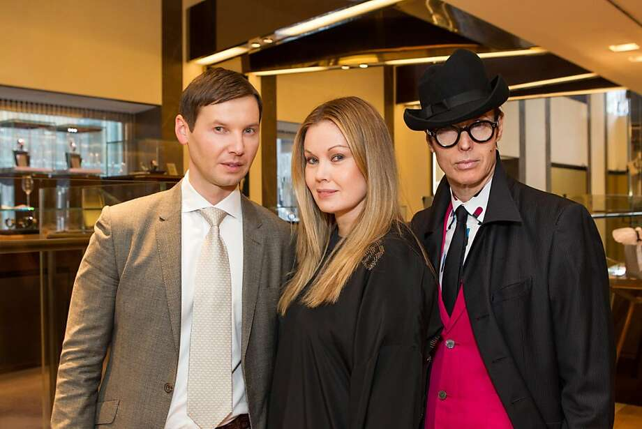 Ivan Bekichev, Tatiana Sorokko and Patrick McDonald pose with another partygoer at at Elizabeth Thieriot's birthday celebration, which took place on April 18, 2013 at Bulgari in San Francisco. Photo: Drew Altizer Photography