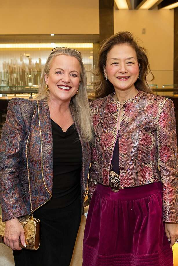 Cindy Shelton and Olivia Decker at Elizabeth Thieriot's birthday celebration, which took place on April 18, 2013 at Bulgari in San Francisco. Photo: Drew Altizer Photography
