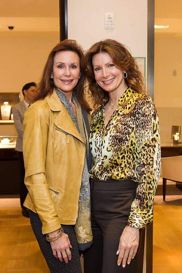 Gigi Hendricks and Sue Kolbas at Elizabeth Thieriot's birthday celebration, which took place on April 18, 2013 at Bulgari in San Francisco. Photo: Drew Altizer Photography