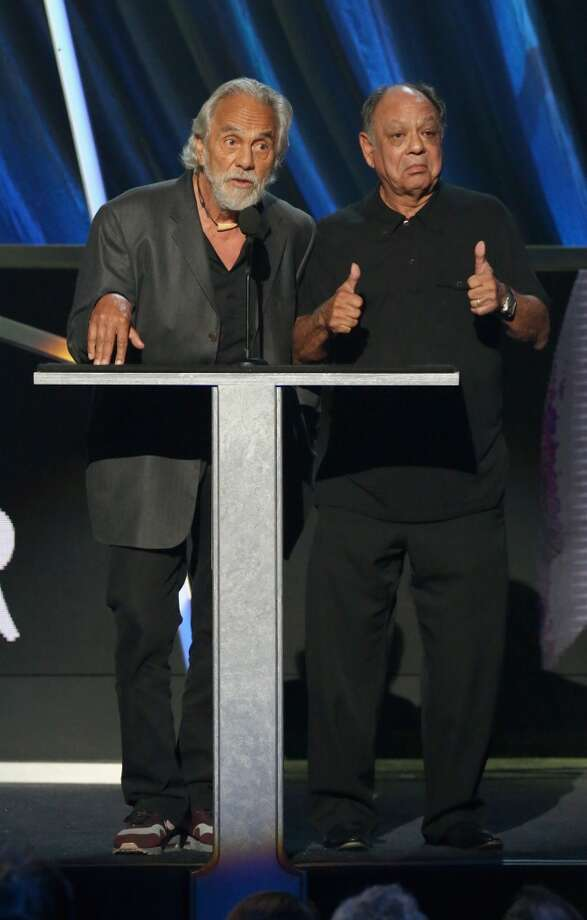Comedians Thomas Chong (L) and Cheech Marin (Cheech & Chong) speak onstage during the 28th Annual Rock and Roll Hall of Fame Induction Ceremony at Nokia Theatre L.A. Live on April 18, 2013 in Los Angeles, California.  (Photo by Kevin Kane/WireImage)