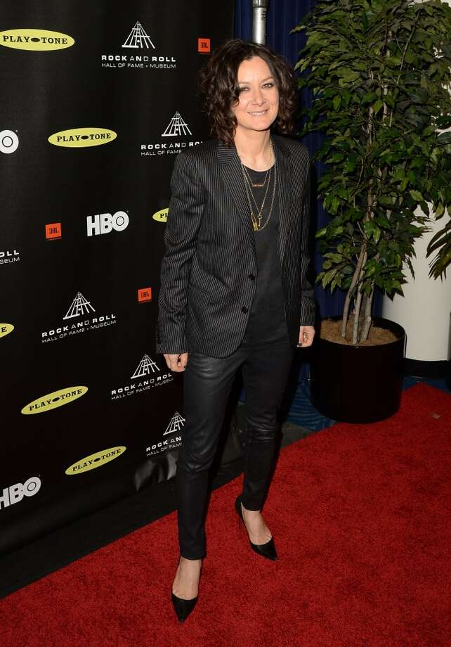 Actress Sara Gilbert arrives at the 28th Annual Rock and Roll Hall of Fame Induction Ceremony at Nokia Theatre L.A. Live on April 18, 2013 in Los Angeles, California.