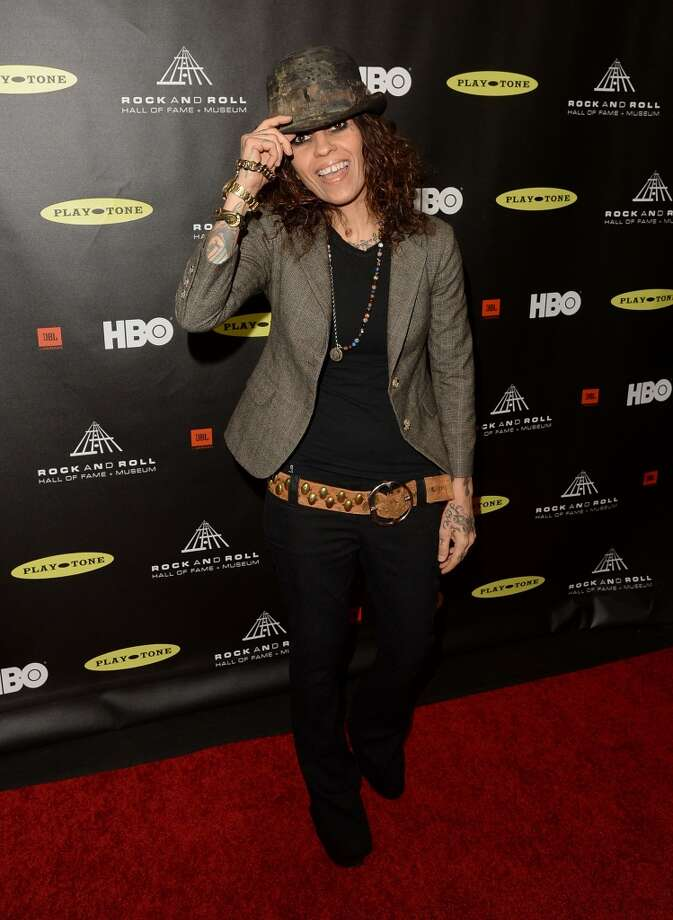 Songwriter/producer Linda Perry arrives at the 28th Annual Rock and Roll Hall of Fame Induction Ceremony at Nokia Theatre L.A. Live on April 18, 2013 in Los Angeles, California.