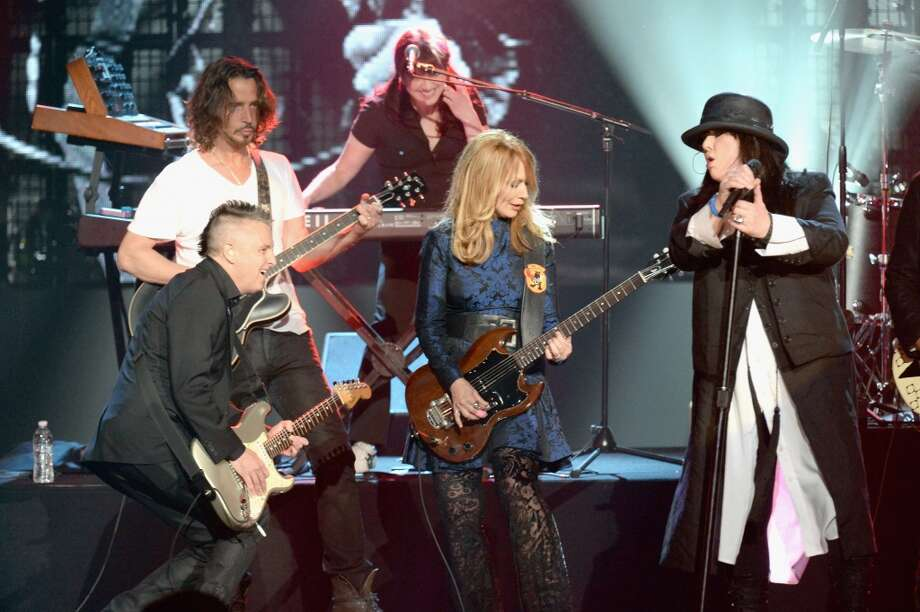Musicians Mike McCready, Chris Cornell, Nancy Wilson, and Ann Wilson perform at the 28th Annual Rock and Roll Hall of Fame Induction Ceremony at Nokia Theatre L.A. Live on April 18, 2013 in Los Angeles, California.  (Photo by Jeff Kravitz/FilmMagic)