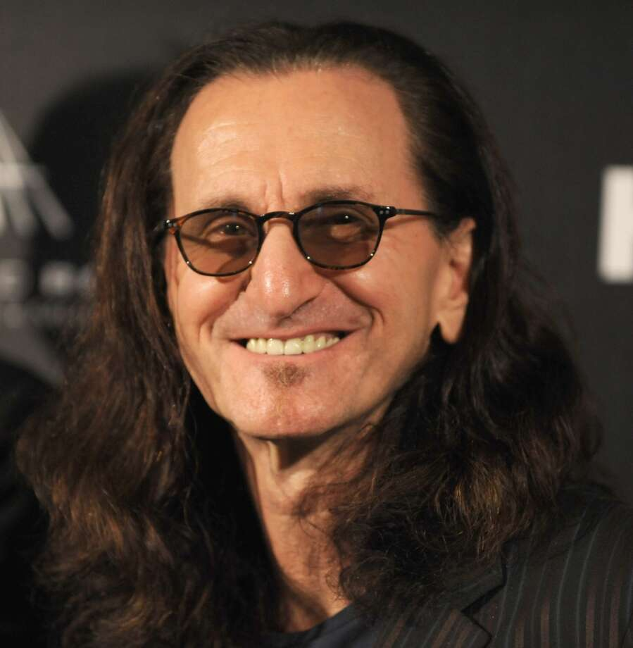 Inductee Geddy Lee of Rush poses in the press room at the 28th Annual Rock and Roll Hall of Fame Induction Ceremony at Nokia Theatre L.A. Live at Nokia Theatre L.A. Live on April 18, 2013 in Los Angeles, California.