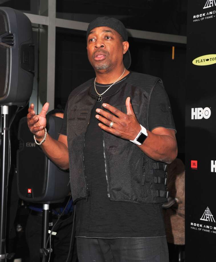 Inductee Chuck D of Public Enemy poses in the press room at the 28th Annual Rock and Roll Hall of Fame Induction Ceremony at Nokia Theatre L.A. Live at Nokia Theatre L.A. Live on April 18, 2013 in Los Angeles, California.