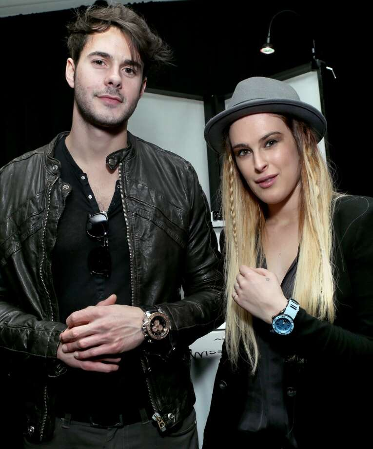 Actress Rumer Willis (R) and Actor Jayson Blair attends the Gift Lounge at the 28th Rock and Roll Hall of Fame Induction Ceremony presented by I Can\'t Believe It\'s Not Butter! \'Breakfast After Dark\' produced by On 3 Productions at Nokia Theatre L.A. Live on April 18, 2013 in Los Angeles, California.