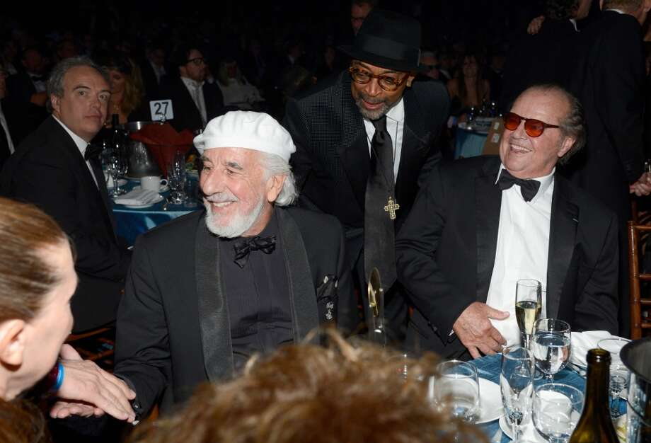 (L-R) Inductee Lou Adle, filmmaker Spike Lee and actor Jack Nicholson aattend the 28th Annual Rock and Roll Hall of Fame Induction Ceremony at Nokia Theatre L.A. Live on April 18, 2013 in Los Angeles, California.  (Photo by Kevin Mazur/WireImage)