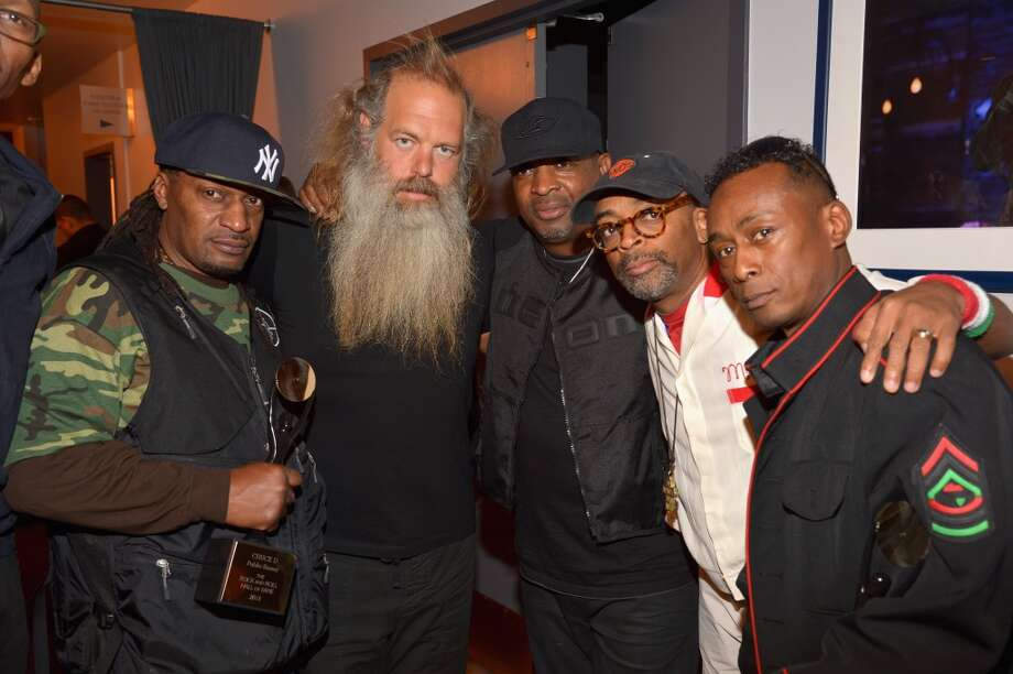 (L-R) S1W member, producer Rick Rubin, inductee Chuck D of Public Enemy, director Spike Lee, and inductee Professor Griff of Public Enemy attend the 28th Annual Rock and Roll Hall of Fame Induction Ceremony at Nokia Theatre L.A. Live on April 18, 2013 in Los Angeles, California.  (Photo by Lester Cohen/WireImage)