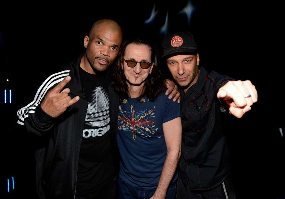 Inductee Darryl McDaniels, inductee Geddy Lee and musician Tom Morello attend the 28th Annual Rock and Roll Hall of Fame Induction Ceremony at Nokia Theatre L.A. Live on April 18, 2013 in Los Angeles, California.  (Photo by Kevin Mazur/WireImage)