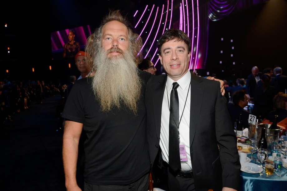Producer Rick Rubin (L) and guest attend the 28th Annual Rock and Roll Hall of Fame Induction Ceremony at Nokia Theatre L.A. Live on April 18, 2013 in Los Angeles, California.  (Photo by Kevin Mazur/WireImage)