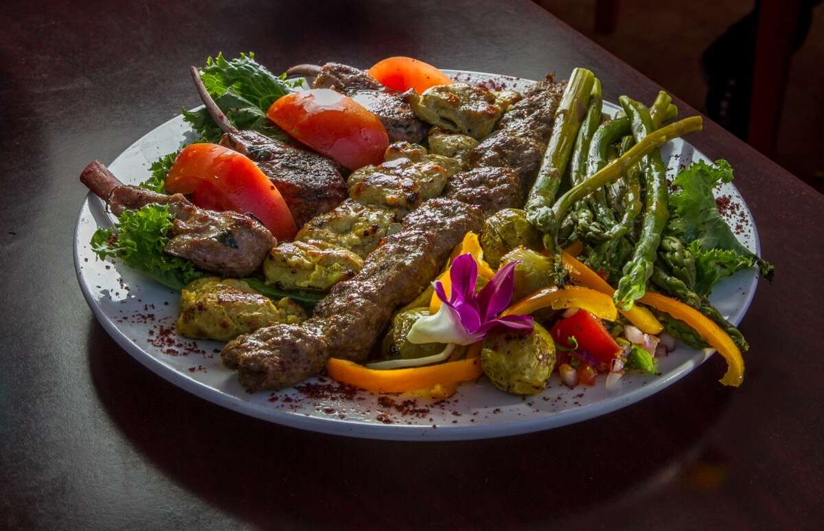 Bacheesos\' grilled meats for two ($20) - a generous meats sampler that includes a chicken and lamb skewer, along with the kubideh.