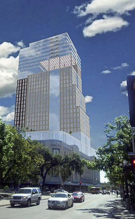 A proposed 24-story hotel/time-share tower, seen here in an artist's illustration, is being planned for the top of the Joske's building, which is attached to Rivercenter mall. One of our readers says she does not care what the building looks like as long as the owners revive the Christmas display windows that delighted generations of children. Photo: Courtesy SA Partnership Architects
