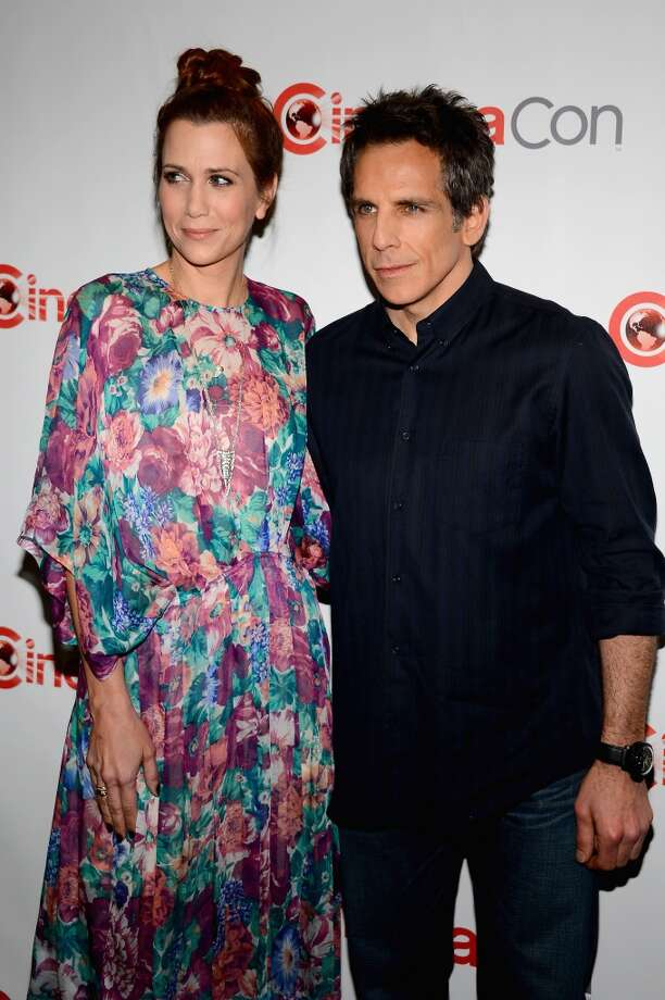 """Actors Kristen Wiig (L) and Ben Stiller arrive at a Twentieth Century Fox presentation to promote the upcoming film \""""The Secret Life of Walter Mitty\"""" at Caesars Palace during CinemaCon, the official convention of the National Association of Theatre Owners, on April 18, 2013 in Las Vegas, Nevada."""