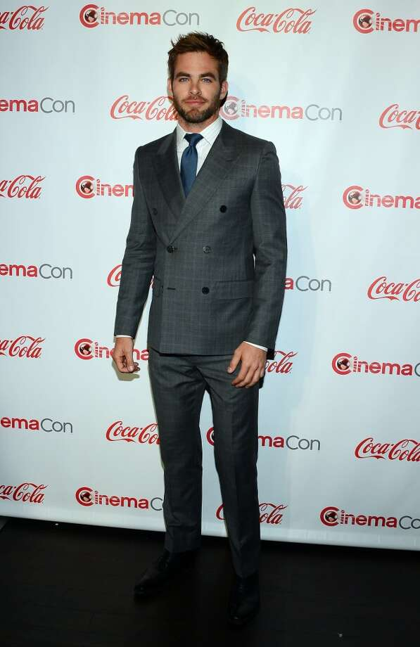Actor Chris Pine, recipient of the Male Star of the Year Award, arrives at the CinemaCon awards ceremony at the Pure Nightclub at Caesars Palace during CinemaCon, the official convention of the National Association of Theatre Owners, on April 18, 2013 in Las Vegas, Nevada.