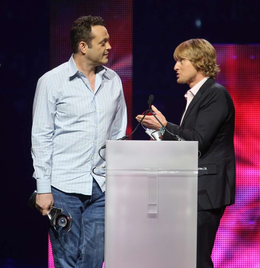 "Vince Vaughn (L) and Owen Wilson accept the award for ""Comedy Duo of the Year\"" at CinemaCon 2013 Big Screen Achievement Awards held at Caesars Palace during CinemaCon, the official convention of the National Association of Theatre Owners on April 18, 2013 in Las Vegas, Nevada."