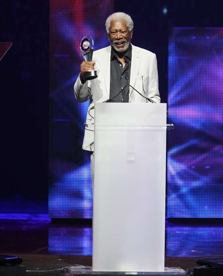 "Morgan Freeman accepts the award for ""Cinema Icon Award\"" at the CinemaCon 2013 Big Screen Achievement Awards held at Caesars Palace during CinemaCon, the official convention of the National Association of Theatre Owners on April 18, 2013 in Las Vegas, Nevada."